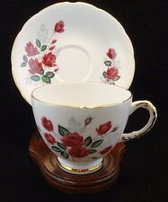 """Vintage Delphine  """" Red Roses""""  Tea Cup and Saucer Set"""