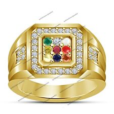 Yellow Gold Filled Round Multi-Color Gemstone Men's Fashion Navratna Band Ring