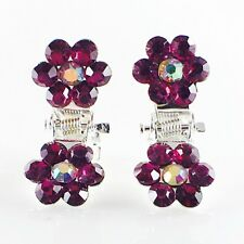 MINI Hair Claw Clip Rhinestone Crystal Hairpin Bridal Wedding Flower Purple 03