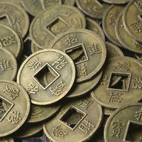 100Pcs Feng Shui Coins Ancient Chinese I Ching Coins For Health Wealth Charm 0U