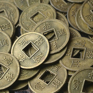 100Pcs Feng Shui Coins Ancient Chinese I Ching Coins For Health Wealth Charm EI