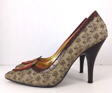 8546e81d25f84 Baby Phat womens brown leather fabric stiletto heels pointed toe shoes size  7 B