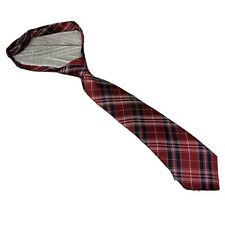 Retreez Junior Boys Necktie Red Neck Strap Navy Plaid Geometric Size 2-4 Years