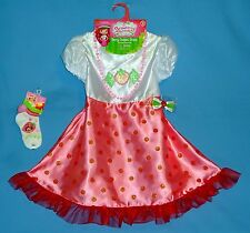 STRAWBERRY SHORTCAKE COSTUME DRESS GIRLS 4-6X;HAIR BOW;SOCKS;NECKLACE;NEW LOT-4
