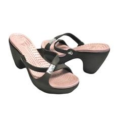 Crocs Womens 8 39 Cross Strap Slides Mules Sandals Brown Pink Heels
