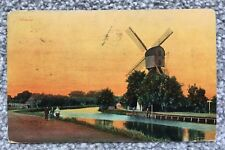 WEESP, HOLLAND WINDMILL AND RIVER AT SUNSET - 1904 POSTCARD