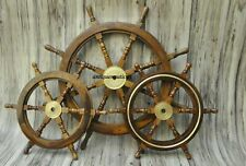 "Set Of 3 (36"" & 24"") Nautical Wooden Ship Steering Wheel Pirate Handmade Décor"