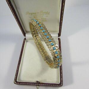 Vintage Textured Goldtone & Turquoise Rhinestone Bracelet