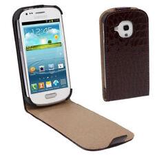 Flip Tasche Croco Style für Samsung i8190 Galaxy S3 Mini braun Etui Hülle Case