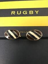 Polo Ralph Lauren Rugby Oxford Striped Enamel Cufflinks Silver Navy Red Burgandy