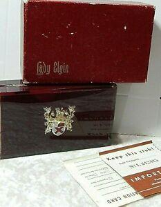 Damen Elgin Vintage Schutzhülle 4 x 6.3cm Plus Original Papier Kiste
