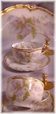 ANTIQUE HAVILAND LIMOGES FRANCE TEA CUP AND SAUCER PINK BLUE FLORAL DOUBLE GOLD