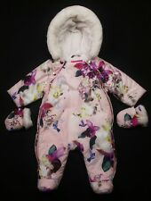 Baby GIRLS TED BAKER Pink Floral Print Snowsuit Pramsuit & Mitts 0-3 Months VGC
