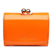 Women Designer PU Patent Leather Small Ball Clasp Matinee Purse Wallet Clutch