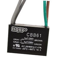 HQRP Capacitor de Motor para Harbor Breeze de Ventilador 5uf+5uf 4Alambres CBB61