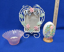 Spring Easter Decor Ribbon Picture Frame Pink Candle Holder Cut Out Egg Lot of 3