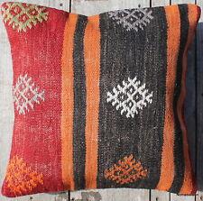 (45*45CM, 18 INCH) Boho handwoven kilim cushion cover pastel red charcoal orange
