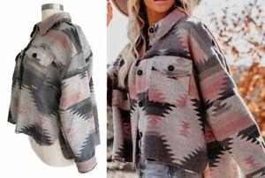 Plus Size Southwest Aztec Yellowstone Flannel Shirt Jacket Shacket Coat