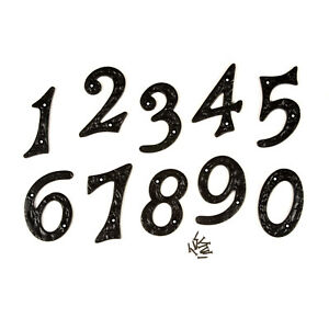 "4""/100mm LARGE HEAVY BLACK ANTIQUE DESIGN CAST IRON HOUSE DOOR NUMBERS NUMERALS"