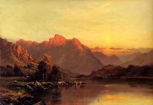 Oil painting alfred de breanski snr - buttermere, the lake district landscape