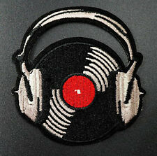 Record Vinyl Headphones Embroidered Iron On Sew On Patches Badges Transfer Patch