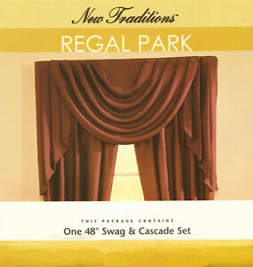 """Sears Regal Park New Traditions 48"""" Swag & Cascade 3 pc Valance set Burgundy NEW"""