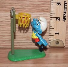 Vintage Schleich Peyo 1980 Super Smurf Basketball Figurine Toy **READ**