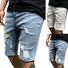 Men Straight Short Jeans Casual Pants Ripped Skinny Denim Shorts Trousers Bottom