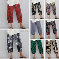 UK 8-24 Womens Floral Elastic Waist Casual Pants Long Trousers Plus Size Ladies