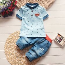 2pcs Toddler Kids Baby Boys Outfits Short Sleeve T-shirt tops+shorts Clothes set