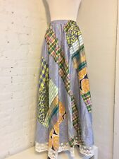 Koos Van Den Akker VTG 80s Cotton Patchwork Lace Trim Maxi Skirt Boho size 2-4 S