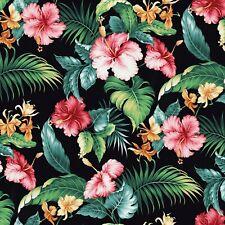 Nautical Fabric - Tropical Paradise Pink Flowers on Black - Springs YARD