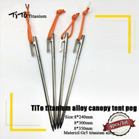 4pcs Ti Camping Titanium Alloy Canopy Tent Peg nail stakes 8x240mm/300mm/350mm