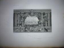 Gravure 19e Noblesse Versailles chevalerie Heraltique Seigneur Chateau Tuileries