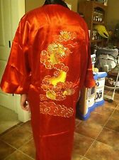 Silk Dragon Robe reverse-able hand embroidered dragon design US Seller