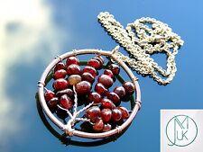 Hecho A MANO GRANATE Árbol De La Vida Colgante Collar 55cm chakra de piedras preciosas naturales