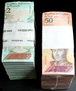 2018 Venezuela $2 & $50 Bolivares UNC 2 Bricks 2000 Pcs Total New SKU035