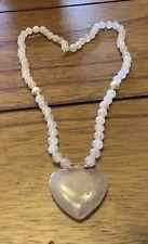 14Kt Gold Necklace Vintage 1970s Ww Rose Pink Quartz Heart Pendant Beaded