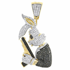 Black Diamond Bunny Pendant Mens 10K Yellow Gold Round Pave Gun Charm 1.97 Tcw.