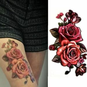 Temporary Fake Tattoos - Twin Rose (Set of 4 Sheets) Mixed Color Red/Pink Women