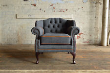 MODERN GREY WOOL TAN LEATHER CHESTERFIELD SHORT OFFICE DINING WING ARMCHAIR