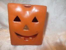 Vintage Terra Cotta Paper Bag With Jack O Lantern Face Tea Light Never Used