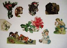 Mixed Lot of Vintage Die-Cuts For Scrap Booking w/ Cows, Bird & Rose *