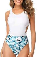 Tempt Me Women One Piece Tropical Print Swimsuit Cutout, White Leaf, Size Small