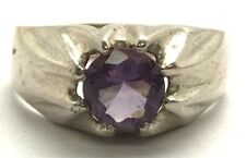 Men's Sterling Silver Clawed Round Purple Amethyst Illusion Style Band Ring 13