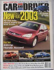 Car & Driver magazine 10/2002 featuring Honda, Merceds, Bentley, Infiniti, Audi