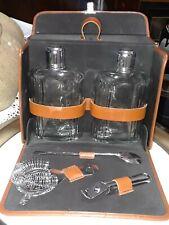New listing Vtg Safari Brown Leather Case 2 Glass Flask, Stir, Strain,Opener