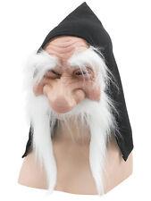Dwarf Goblin Gnome Troll Black Hooded Mask White Moustache Fancy Dress Accessory