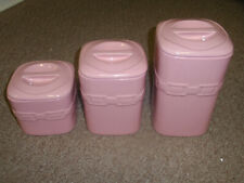 """Longaberger Pottery, Wt """"Square Canister"""" Hoh Pink (Set Of 3), New!"""