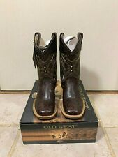 Old West Brown Children Sz 9 D Boys Carona Leather Broad Square Toe Cowboy Boots